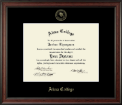 Alma College Diploma Frame - Gold Embossed Diploma Frame in Studio