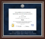 American Congress of Obstetricians & Gynecologists Certificate Frame - Silver Engraved Certificate Frame in Devonshire
