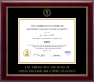 American Congress of Obstetricians & Gynecologists Certificate Frame - Gold Embossed Certificate Frame in Gallery