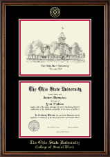 The Ohio State University Diploma Frame - Black and White Lithograph Edition Diploma Frame in Williamsburg