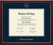 Kaplan College Diploma Frame - Gold Embossed Diploma Frame in Galleria