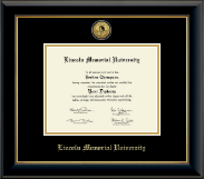 Lincoln Memorial University Diploma Frame - Gold Engraved Medallion Diploma Frame in Onyx Gold
