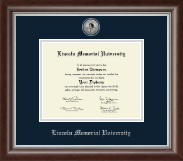 Lincoln Memorial University Diploma Frame - Silver Engraved Diploma Frame in Devonshire