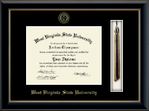 West Virginia State University Diploma Frame - Tassel Diploma Frame in Onyx Gold