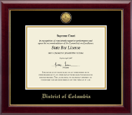 District of Columbia Certificate Frame - Gold Engraved Medallion Certificate Frame in Gallery