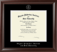 Virginia Tech Diploma Frame - Silver Embossed Diploma Frame in Rainier