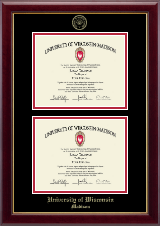 University of Wisconsin Madison Diploma Frame - Gold Embossed Double Diploma Frame in Gallery