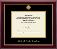 State of North Carolina Certificate Frame - Gold Engraved Medallion Certificate Frame in Gallery