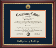 Gettysburg College Diploma Frame - Gold Engraved Medallion Diploma Frame in Kensington Gold
