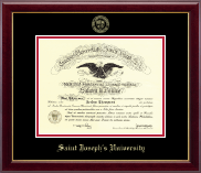 Saint Joseph's University in Pennsylvania Diploma Frame - Gold Embossed Diploma Frame in Gallery