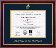 Mount Sinai School of Medicine Diploma Frame - Gold Embossed Diploma Frame in Gallery