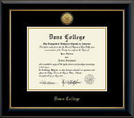 Dana College Diploma Frame - Gold Engraved Medallion Diploma Frame in Onyx Gold