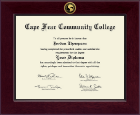 Cape Fear Community College Diploma Frame - Century Gold Engraved Diploma Frame in Cordova