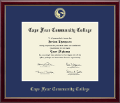 Cape Fear Community College Diploma Frame - Gold Embossed Diploma Frame in Galleria