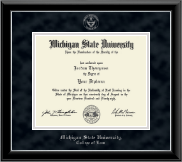 Michigan State University Diploma Frame - Silver Embossed Diploma Frame in Onyx Silver