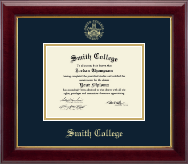 Smith College Diploma Frame - Gold Embossed Diploma Frame in Gallery