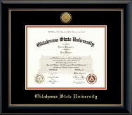 Oklahoma State University Diploma Frame - Gold Engraved Medallion Diploma Frame in Onyx Gold