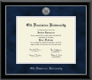 Old Dominion University Diploma Frame - Silver Engraved Medallion Diploma Frame in Onyx Silver