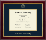 Oakwood University Diploma Frame - Gold Embossed Diploma Frame in Gallery