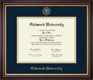 Oakwood University Diploma Frame - Gold Embossed Edition in Regency Gold