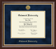 Oakwood University Diploma Frame - Gold Engraved Medallion Diploma Frame in Hampshire