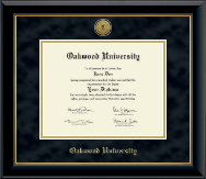 Oakwood University Diploma Frame - Gold Engraved Medallion Diploma Frame in Onyx Gold
