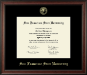 San Francisco State University Diploma Frame - Gold Embossed Diploma Frame in Studio