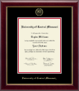 University of Central Missouri Diploma Frame - Gold Embossed Diploma Frame in Gallery