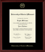 University of Central Missouri Diploma Frame - Gold Embossed Diploma Frame in Camby