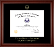 National Board of Certification for Medical Interpreters Certificate Frame - Gold Embossed Certificate Frame in Cambridge