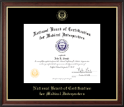 National Board of Certification for Medical Interpreters Certificate Frame - Gold Embossed Certificate Frame in Studio Gold
