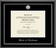 State of Alabama Certificate Frame - Silver Engraved Medallion Certificate Frame in Onyx Silver