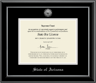 State of Arizona Certificate Frame - Silver Engraved Medallion Certificate Frame in Onyx Silver