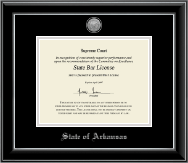 State of Arkansas Certificate Frame - Silver Engraved Medallion Certificate Frame in Onyx Silver