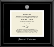 State of Colorado Certificate Frame - Silver Engraved Medallion Certificate Frame in Onyx Silver