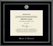 State of Hawaii Certificate Frame - Silver Engraved Medallion Certificate Frame in Onyx Silver
