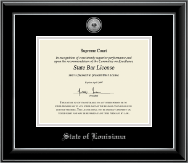 State of Louisiana Certificate Frame - Silver Engraved Medallion Certificate Frame in Onyx Silver