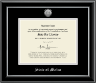 State of Maine Certificate Frame - Silver Engraved Medallion Certificate Frame in Onyx Silver