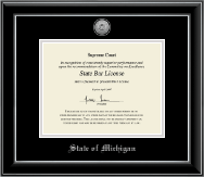 State of Michigan Certificate Frame - Silver Engraved Medallion Certificate Frame in Onyx Silver