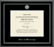State of Mississippi Certificate Frame - Silver Engraved Medallion Certificate Frame in Onyx Silver