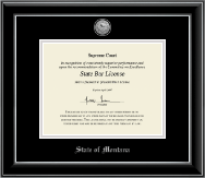 State of Montana Certificate Frame - Silver Engraved Medallion Certificate Frame in Onyx Silver
