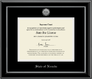 State of Nevada Certificate Frame - Silver Engraved Medallion Certificate Frame in Onyx Silver