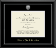 State of North Carolina Certificate Frame - Silver Engraved Medallion Certificate Frame in Onyx Silver