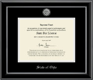State of Ohio Certificate Frame - Silver Engraved Medallion Certificate Frame in Onyx Silver
