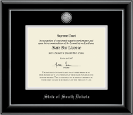 State of South Dakota Certificate Frame - Silver Engraved Medallion Certificate Frame in Onyx Silver