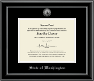 State of Washington Certificate Frame - Silver Engraved Medallion Certificate Frame in Onyx Silver