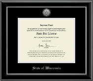 State of Wisconsin Certificate Frame - Silver Engraved Medallion Certificate Frame in Onyx Silver