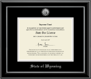 State of Wyoming Certificate Frame - Silver Engraved Medallion Certificate Frame in Onyx Silver