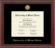 University of Mount Union Diploma Frame - Gold Engraved Medallion Diploma Frame in Signature