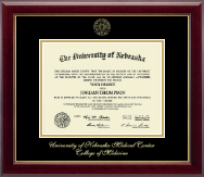 University of Nebraska Medical Center Diploma Frame - Gold Embossed Diploma Frame in Gallery